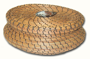 lidded basket made with sinew, geode lid knob